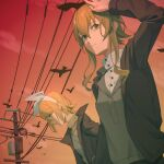 2girls arm_up bird black_jacket blonde_hair blue_eyes bow commentary crow expressionless from_below green_eyes green_hair grey_shirt gumi hair_bow highres jacket kagamine_rin looking_to_the_side multiple_girls outdoors power_lines scarf shading_eyes shirt short_hair standing twilight utility_pole vocaloid white_bow wounds404