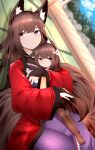 2girls absurdres amagi-chan_(azur_lane) amagi_(azur_lane) animal_ear_fluff animal_ears azur_lane black_legwear blurry blurry_background bridal_gauntlets brown_hair brown_tail child coat fox_ears fox_girl fox_tail highres huge_filesize indoors japanese_clothes kimono kitsune kyuubi long_hair lying multiple_girls multiple_tails on_back open_clothes open_coat pantyhose red_kimono samip tail thick_eyebrows violet_eyes wide_sleeves