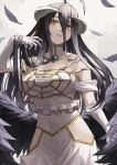 1girl ahoge albedo_(overlord) bare_shoulders black_hair black_wings breasts commentary_request cowboy_shot demon_girl demon_horns demon_wings dress elbow_gloves fagi_(kakikaki) feathered_wings feathers gloves gradient gradient_background grey_background hair_between_eyes horns large_breasts long_hair looking_at_viewer low_wings overlord_(maruyama) slit_pupils solo white_dress white_gloves wings yellow_eyes