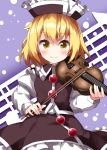 1girl bangs black_headwear black_skirt black_vest blonde_hair bow_(instrument) closed_mouth commentary_request cowboy_shot dotted_background eyebrows_visible_through_hair frilled_hat frilled_skirt frills hat highres holding holding_instrument instrument long_sleeves looking_at_viewer lunasa_prismriver musical_note purple_background ruu_(tksymkw) shirt short_hair skirt smile solo standing touhou vest violin white_shirt yellow_eyes