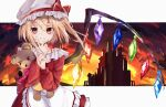 1girl absurdres apron bangs blonde_hair castle commentary doll_hug dress eyebrows_visible_through_hair finger_to_own_chin flandre_scarlet hat hat_ribbon highres huge_filesize kaya_(tyhk7874) letterboxed long_hair long_sleeves looking_at_viewer object_hug outside_border red_dress red_eyes ribbon sidelocks smile solo stuffed_animal stuffed_toy teddy_bear touhou white_headwear