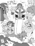 2girls 3boys bangs cape charizard chouonsoku-jiisan clenched_teeth closed_eyes fur_trim gen_1_pokemon gloves greyscale gym_leader hair_ornament hands_on_hips hat heart heart_hair_ornament highres hop_(pokemon) leon_(pokemon) long_hair milo_(pokemon) monochrome multiple_boys multiple_girls multiple_views nessa_(pokemon) open_mouth partially_fingerless_gloves pokemon pokemon_(creature) pokemon_(game) pokemon_swsh ponytail sharp_teeth sonia_(pokemon) sweat tears teeth translation_request