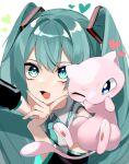 gen_1_pokemon green_eyes green_hair hatsune_miku heart highres mew mythical_pokemon pokemon reirou_(chokoonnpu) scarf selfie smile twintails
