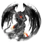 black_dragon_kalameet commentary dark_souls_i dragon english_commentary forehead_jewel highres no_humans red_theme shimhaq solo souls_(series) spot_color wings