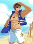 1boy abs absurdres alternate_costume bare_pectorals beach black-framed_eyewear blue_eyes brown_hair day facial_hair fate/grand_order fate_(series) feet_out_of_frame goatee highres holding holding_surfboard lifeguard long_sideburns looking_at_viewer male_focus male_swimwear muscular muscular_male napoleon_bonaparte_(fate) navel nipples no_nipples pectorals salute sand scar scar_on_chest short_hair sideburns sleeveless smile solo stomach sunglasses surfboard swim_trunks vincent-san whistle whistle_around_neck white_male_swimwear