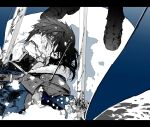 1boy arrow_(projectile) bangs blood blood_on_face boots character_request chouonsoku-jiisan commentary_request copyright_request fur_trim greyscale hair_between_eyes highres impaled injury letterboxed lying male_focus monochrome on_back snow solo_focus spot_color sword weapon