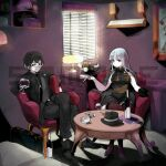1boy 1girl ashtray breasts chair china_dress chinese_clothes cigarette closed_mouth cup dress drinking_glass ejami formal glasses hat heterochromia long_hair looking_at_viewer original phone sample smile suit table thigh-highs window wine_glass