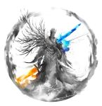 1boy commentary crown dark_souls_iii dual_wielding english_commentary highres holding holding_sword holding_weapon male_focus pontiff_sulyvahn robe shimhaq solo souls_(series) standing sword weapon wings