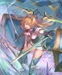 1girl armored_boots bangs blonde_hair boots double_sided_sword dual_wielding feet_out_of_frame floating floating_hair floating_object floating_sword floating_weapon gauntlets hair_between_eyes highres holding holding_sword holding_weapon juliet_sleeves long_hair long_sleeves multiple_shields multiple_swords nagasawa_tougo open_mouth original puffy_sleeves shield solo sword thigh-highs thigh_boots tiara twitter_username weapon