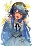 1girl absurdres amamiya_kokoro angel_wings antenna_hair bangs bell beret black_headwear black_neckwear blue_bow blue_dress blue_hair blurry blurry_background bow buttons chromatic_aberration commentary dress eyebrows_visible_through_hair fang flower frilled_shirt_collar frilled_sleeves frills hair_bell hair_ornament hat head_tilt highres holding holding_hair long_hair long_sleeves mini_wings nijisanji open_mouth sidelocks simple_background skin_fang smile solo toima_(beat0829) upper_body very_long_hair virtual_youtuber white_background wings x_hair_ornament yellow_eyes yellow_flower