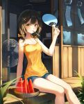 1girl ahoge bare_arms bare_shoulders black_hair blue_shorts bow breasts brown_eyes camisole day electric_fan fan food hair_bow hair_ornament holding hot long_hair looking_at_viewer medium_breasts mela_(rbw1s) mouth_hold original popsicle shirt short_shorts shorts sitting sleeveless sleeveless_shirt solo spaghetti_strap strap_slip summer sunlight sweat thighs veranda watermelon_bar wind_chime x_hair_ornament yellow_shirt