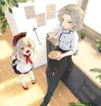 1boy 1girl :o ahoge albedo_(genshin_impact) alternate_costume apron aqua_eyes bangs black_footwear black_pants blurry cactus chef_uniform commentary_request contemporary depth_of_field dodoco_(genshin_impact) eating eyebrows_visible_through_hair fork from_above genshin_impact hair_between_eyes hair_ornament hat hat_removed headwear_removed highres holding holding_fork kitchen klee_(genshin_impact) light_brown_hair long_hair looking_at_another looking_away looking_up low_twintails malmaron mary_janes orange_eyes pants plant plate pocket pointy_ears potted_plant red_footwear red_headwear shoes shortcake sidelocks silver_hair sticky_note surprised sweat translation_request twintails window wooden_floor wristband x_hair_ornament