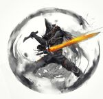 1other abyss_watcher armor cape dagger dark_souls_iii fighting_stance helmet highres holding holding_dagger holding_sword holding_weapon knife looking_at_viewer pants reverse_grip shimhaq solo souls_(series) standing sword weapon
