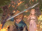 1boy 1girl artist_name bangs belt black_belt blonde_hair blood blood_on_face blue_eyes blue_tunic brown_pants character_request dress e_volution fire grass hand_up holding holding_sword holding_weapon jewelry link long_hair master_sword one_eye_closed open_mouth outdoors pants pointy_ears princess_zelda short_sleeves sidelocks sword teeth the_legend_of_zelda the_legend_of_zelda:_breath_of_the_wild tongue tree weapon white_dress