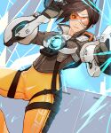 1girl ass_visible_through_thighs bodysuit bomber_jacket brown_eyes brown_hair brown_jacket chest_harness cropped_jacket dutch_angle harness highres jacket leather mizu_(dl7613) multiple_piercings orange_bodysuit orange_goggles overwatch power_armor solo spiky_hair thighs tracer_(overwatch) union_jack