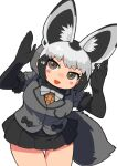 1girl :3 animal_ear_fluff animal_ears arms_up bangs bat-eared_fox_(kemono_friends) black_bow black_gloves black_hair black_skirt blazer blush_stickers bow bowtie breast_pocket brown_hair bunny_pose cowboy_shot dot_nose elbow_gloves extra_ears fox_ears fox_girl fox_tail fur-trimmed_sleeves fur_trim furrowed_brow gloves grey_blazer grey_bow grey_hair grey_jacket grey_neckwear highres jacket kemono_friends leaning_forward leaning_to_the_side looking_at_viewer miniskirt multicolored_hair open_mouth pleated_skirt pocket rinx short_hair short_sleeves simple_background skirt smile solo standing tail thigh_gap tsurime white_background