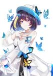 1girl black_hair blonde_hair blue_butterfly bow bug butterfly dress hat hat_bow highres honkai_(series) honkai_impact_3rd insect long_sleeves multicolored_hair see-through seele_vollerei senin_liku simple_background smile solo standing streaked_hair two-tone_hair white_background white_bow white_dress white_headwear yellow_butterfly