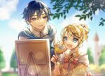 1boy 1girl aku_no_musume_(vocaloid) art_brush artist_name aryuma772 blonde_hair blue_eyes blue_hair blue_neckwear blue_sky blurry blurry_background bow building canvas_(object) castle choker clouds collarbone commentary_request dress dress_bow earrings evillious_nendaiki flower frilled_dress frills garden hair_bow hair_ornament hairclip highres holding holding_brush holding_palette jewelry kagamine_rin kaito_(vocaloid) kyle_marlon lens_flare light_particles open_mouth paintbrush painting palette_(object) puffy_sleeves riliane_lucifen_d'autriche rose short_hair signature sky smile teaching tower tree twitter_username updo vocaloid yellow_dress yellow_flower yellow_rose