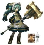 1girl :| absurdres aqua_eyes aqua_hair bangs bare_shoulders black_eyes black_hair blush boots cape chess_piece chessboard closed_mouth colored_skin commentary contrapposto dress english_commentary eyebrows_visible_through_hair fur_trim hair_between_eyes hammer hat hatsune_miku highres holding holding_weapon long_hair multicolored multicolored_eyes reference_photo_inset rook_(chess) short_hair sidelocks simple_background smile socks standing tied_hair topdylan tsurime twintails very_long_hair vocaloid weapon white_background white_legwear white_skin yellow_eyes yellow_footwear