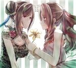 2girls aerith_gainsborough alternate_hairstyle animal_print bangs blue_eyes breasts cleavage_cutout closed_mouth clothing_cutout eye_contact eyebrows_visible_through_hair eyes_visible_through_hair final_fantasy final_fantasy_vii final_fantasy_vii_remake fingernails flower hair_bun hair_ribbon hand_on_another's_back high_collar highres holding holding_flower large_breasts leopard_print long_hair looking_at_another medium_breasts mirrorclew multiple_girls red_eyes ribbon short_sleeves sleeveless swept_bangs tifa_lockhart tifa_lockhart's_sporty_dress upper_body yuri