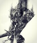 1other armor bearer_of_the_curse dark_souls_ii facing_viewer full_armor grey_background greyscale helmet highres holding holding_sword holding_weapon monochrome pauldrons shimhaq shoulder_armor signature simple_background solo souls_(series) standing sword weapon