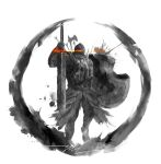 armor axe dark_souls_ii full_armor glowing glowing_eyes helmet highres holding holding_shield holding_sword holding_weapon knight shield shimhaq signature solo souls_(series) standing sword the_pursuer weapon