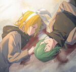 2girls beige_coat black_shirt blonde_hair blood blue_eyes bow closed_eyes coat commentary green_hair gumi hair_bow head_rest hooded_coat kagamine_rin looking_at_another lying multiple_girls on_back on_side open_mouth shirt short_hair sidelocks smile snow turtleneck upper_body vocaloid wounds404