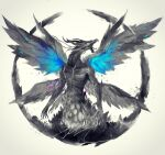 dark_souls_i dragon grey_background highres multiple_wings no_humans open_mouth seath_the_scaleless shimhaq signature simple_background solo souls_(series) spread_wings wings
