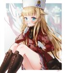 1girl absurdres artist_name bad_hands bag bangs black_neckwear blue_eyes blunt_bangs blurry blurry_background blush boots brooch brown_footwear coat commentary_request gloves handbag highres jewelry knee_boots knees_up long_hair partial_commentary princess_(princess_principal) princess_principal red_coat sitting solo syukonbu very_long_hair white_gloves white_headwear