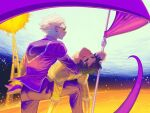 2boys black_hair blonde_hair carrying chain closed_eyes commentary dave_strider earrings english_commentary flag highres homestuck jewelry john_egbert kneeling long_sleeves multiple_boys outdoors pajamas pants princess_carry purple_pants purple_shirt shirt shoes short_hair stud_earrings sunglasses thetrashbinoverthere thick_eyebrows yellow_pants yellow_shirt