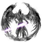 1other dark_souls_ii darklurker extra_arms highres holding holding_sword holding_weapon hood hood_up shimhaq simple_background solo souls_(series) spread_wings sword weapon white_background wings