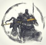 2boys armor breastplate closed_mouth dark_souls_i dragon_slayer_ornstein executioner_smough full_armor gauntlets hammer helmet highres holding holding_hammer holding_polearm holding_spear holding_weapon multiple_boys pauldrons plume polearm shimhaq shoulder_armor souls_(series) spear standing weapon