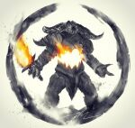 dark_souls_ii demon fewer_digits fire flaming_sword flaming_weapon highres holding holding_sword holding_weapon horns monster pelvic_curtain shimhaq smelter_demon solo souls_(series) standing sword weapon