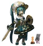 1girl aqua_eyes aqua_footwear aqua_hair bangs black_gloves black_hair blush boots capelet commentary dress english_commentary floral_print gloves gold_trim grin hair_between_eyes hat hatsune_miku highres holding holding_shield holding_sword holding_weapon long_hair multicolored multicolored_clothes multicolored_eyes multicolored_footwear multicolored_headwear pawn_(chess) puffy_sleeves reference_photo_inset shield sidelocks simple_background smile sword tied_hair topdylan triangle_mouth twintails upper_teeth very_long_hair vocaloid weapon white_background white_eyes white_footwear white_headwear yellow_eyes yellow_headwear