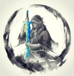 1boy closed_mouth dark_souls_iii highres holding holding_sword holding_weapon hood hood_up lothric_(younger_prince) male_focus robe shimhaq solo souls_(series) sword weapon