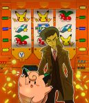 1boy black_eyes blush_stickers brown_coat claws clefairy coat coin collared_shirt commentary_request fang gen_1_pokemon hand_in_pocket looker_(pokemon) male_focus mikami necktie open_clothes open_coat open_mouth outline pants pikachu pink_neckwear pokemon pokemon_(creature) pokemon_(game) pokemon_dppt popped_collar shirt short_hair star_(symbol) tongue vest white_shirt