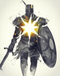 1boy commentary dark_souls_i english_commentary helmet highres holding holding_shield holding_sword holding_weapon male_focus plume shield shimhaq solaire_of_astora solo souls_(series) standing sword tabard weapon