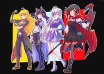 4girls :o ahoge animal_ears arm_ribbon belt black_background black_dress black_footwear black_hair black_legwear blake_belladonna blonde_hair blue_eyes breasts brown_jacket cape cape_hold cat_ears cloak closed_mouth coattails commentary_request corset crescent_rose cropped_jacket dress earrings ember_celica_(rwby) extra_ears eyebrows_visible_through_hair flexing floral_print frilled_dress frills gambol_shroud gradient_hair grey_eyes hand_on_hilt high_collar high_heels highres holding holding_scythe holding_weapon hood hooded_cloak iesupa jacket jewelry large_breasts long_hair long_sleeves looking_at_viewer midriff multicolored_hair multiple_girls myrtenaster navel necklace pendant pose prosthesis prosthetic_arm red_cape redhead ribbon rose_print ruby_rose rwby scar scar_across_eye scythe short_hair side_ponytail smile smirk standing standing_on_one_leg thigh-highs tiara two-tone_hair violet_eyes wavy_hair weapon weiss_schnee white_hair yang_xiao_long yellow_eyes