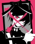 1boy ahoge alternate_eye_color bangs black_hair buttons commentary_request cross danganronpa_(series) danganronpa_v3:_killing_harmony double-breasted grey_background hair_between_eyes hand_up iei jacket long_sleeves looking_at_viewer pink_background pink_blood saihara_shuuichi sasakama_(sasagaki01) short_hair simple_background solo spot_color upper_body