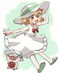1girl :d alternate_costume bangs blonde_hair bow bowtie dress eyebrows_visible_through_hair food full_body green_background green_footwear green_ribbon hair_ribbon hand_on_headwear hat hat_ribbon holding holding_food looking_at_viewer open_mouth pig red_bow red_eyes red_neckwear red_ribbon ribbon rokugou_daisuke rumia sandals short_hair sleeveless sleeveless_dress smile tomato touhou touhou_cannonball white_dress white_headwear