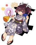 1girl ahoge alternate_costume bangs black_footwear black_sash brown_eyes brown_hair closed_mouth eyebrows_visible_through_hair fireworks floral_print fox_print full_body grey_kimono headgear highres holding ini_(inunabe00) japanese_clothes kimono long_sleeves looking_at_viewer obi ponytail sandals sash short_hair simple_background sitting sky solo star_(sky) starry_sky touhoku_kiritan voiceroid white_background wide_sleeves