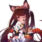 1girl 3: absurdres amagi-chan_(azur_lane) animal_ears azur_lane bangs bell blunt_bangs brown_hair calligraphy_brush cat collar commentary_request eyebrows_visible_through_hair fox_ears highres ink long_hair long_sleeves looking_at_viewer manjuu_(azur_lane) neck_bell off-shoulder_kimono one_eye_closed paintbrush rope shimenawa sidelocks thick_eyebrows twintails violet_eyes white_background wide_sleeves yuking