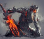 1boy armor breastplate closed_mouth dark_souls_iii full_armor gauntlets helmet highres holding holding_sword holding_weapon long_hair lorian_(elder_prince) male_focus monochrome pauldrons red_theme shimhaq shoulder_armor signature solo souls_(series) sword weapon
