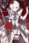 1girl armor armored_dress boots cape clothing_cutout elbow_gloves expressionless eyebrows_visible_through_hair flower gloves grey_eyes hair_flower hair_ornament highres holding holding_scythe hood hood_down legband looking_at_viewer mi_mu navel_cutout petals red_flower red_rose rose scythe sidelocks sinoalice snow_white_(sinoalice) solo thigh-highs thigh_boots torn_cape torn_clothes veil white_gloves white_hair