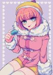 1girl andou_ruruka arm_support bangs blush breasts commentary_request cowboy_shot danganronpa_(series) danganronpa_3_(anime) eyebrows_visible_through_hair food fur-trimmed_jacket fur_trim hand_up hat heart holding holding_food invisible_chair jacket large_breasts long_sleeves looking_at_viewer orange_headwear orange_shorts pink_hair pink_jacket sasakama_(sasagaki01) shiny shiny_hair short_hair short_shorts shorts sitting solo thigh-highs tongue tongue_out white_legwear yellow_shorts