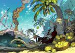 2boys artist_name beach coconut coconut_tree commentary_request demizu_posuka lizard_tail lizardman multiple_boys original outdoors palm_tree sharp_teeth short_sleeves shorts sleeveless smoke tail teeth tree