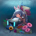 1girl absurdres air_bubble ame. animal_ear_fluff animal_ears bangs bare_shoulders barefoot black_swimsuit blue_hair blush bow braid bubble carrot_hair_ornament closed_mouth commentary_request eyebrows_visible_through_hair food-themed_hair_ornament goggles hair_between_eyes hair_bow hair_ornament highres holding hololive long_hair looking_at_viewer multicolored_hair one-piece_swimsuit rabbit_ears rabbit_girl rabbit_tail red_eyes shoes short_eyebrows simple_background smile solo subnautica swimsuit tail thick_eyebrows twin_braids twintails two-tone_hair underwater usada_pekora very_long_hair virtual_youtuber white_background white_footwear white_hair x_x