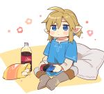 1boy ahoge bangs blonde_hair blue_eyes blue_shirt blush_stickers boots brown_footwear chips closed_mouth cola commentary_request controller earrings food full_body game_controller grey_pants holding holding_controller jewelry joy-con knee_boots layered_sleeves link long_sleeves male_focus pants pillow pointy_ears shiny shiny_hair shirt short_over_long_sleeves short_sleeves snack solo the_legend_of_zelda the_legend_of_zelda:_breath_of_the_wild ttanuu. white_background