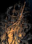 1boy 1other anchor artist_name chain commentary_request damaged demizu_posuka fishing fishing_rod highres original ship skeleton skull undead underwater watercraft