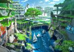 abandoned animal bird blue_sky boat building day escalator highres house no_humans original outdoors overgrown ruins sailboat scenery sky smoke stairs tokyogenso tree water watercraft waterfall
